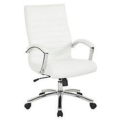 Work Smar Executive Mid-Back Chair in White Faux Leather with Padded Arms and Chrome Finish Base