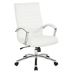 Executive Mid Back Chair In White Faux Leather With Padded Arms And Chrome Finish Base