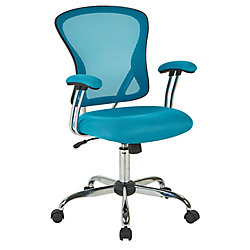 Ave Six Juliana Task Chair with Blue Mesh Fabric Seat