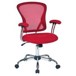 Ave Six Chaise de bureau Juliana, siège en tissu maillé rouge