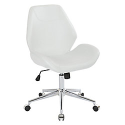 Ave Six Chatsworth Office Chair in Distressed White Faux Leather with Chrome Base
