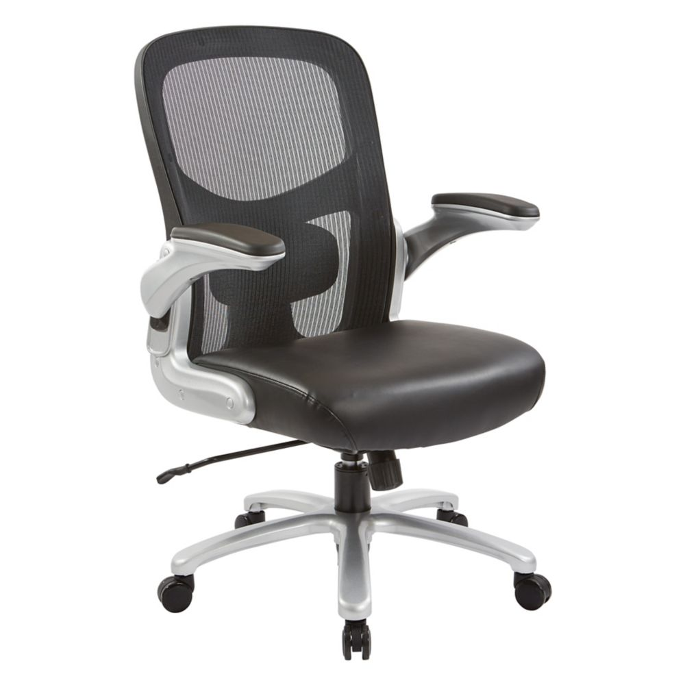 Pro-Line II Big and Tall Mesh Back Executive Chair with Black Bonded Leather Seat and  Silver Accent and Base