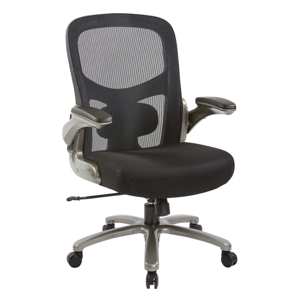 Pro-Line II Big and Tall Mesh Back Executive Chair with Black Mesh Seat and Titanium Accent and Base