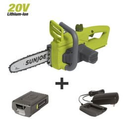 Sun Joe 10-inch 20V Brushless Cordless Electric Chainsaw Kit with 2.0 Ah Battery + Charger