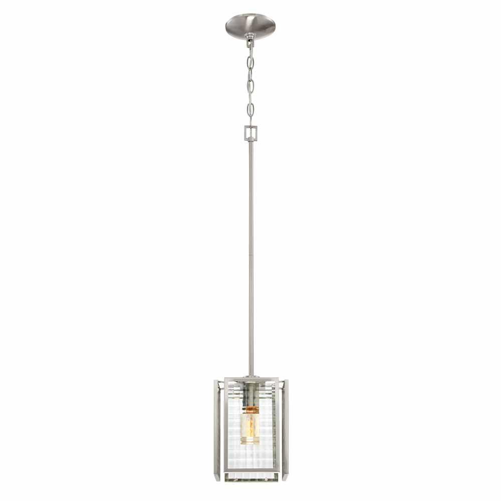 Designers Fountain Incandescent 1-Light Mini Pendant Light Fixture in Satin Platinum Finish with Clear Lattice Glass