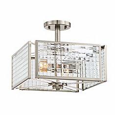 Semi-plafonnier à 2 ampoules incandescentes, fini platine satiné, verre clair à effet de treillis