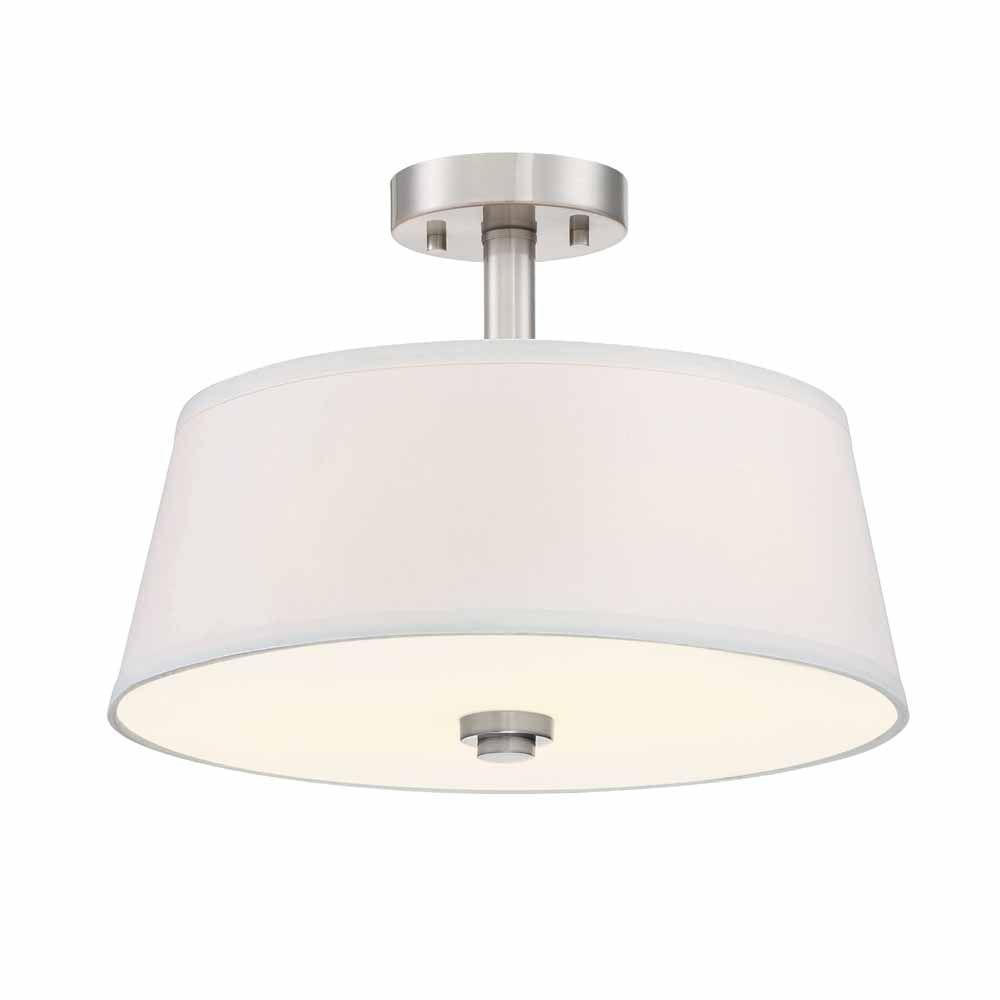 Designers Fountain Incandescent 2-light Semi-Flush,Satin Platinum Finish, White Fabric Shade