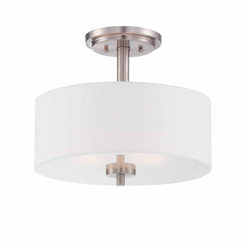 Designers Fountain Incandescent 2-light Semi-Flush,Satin Platinum Finish, White Fabric Shade,