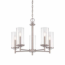 Designers Fountain 5-Light 60W Satin Platinum Chandelier with Clear Glass Shade