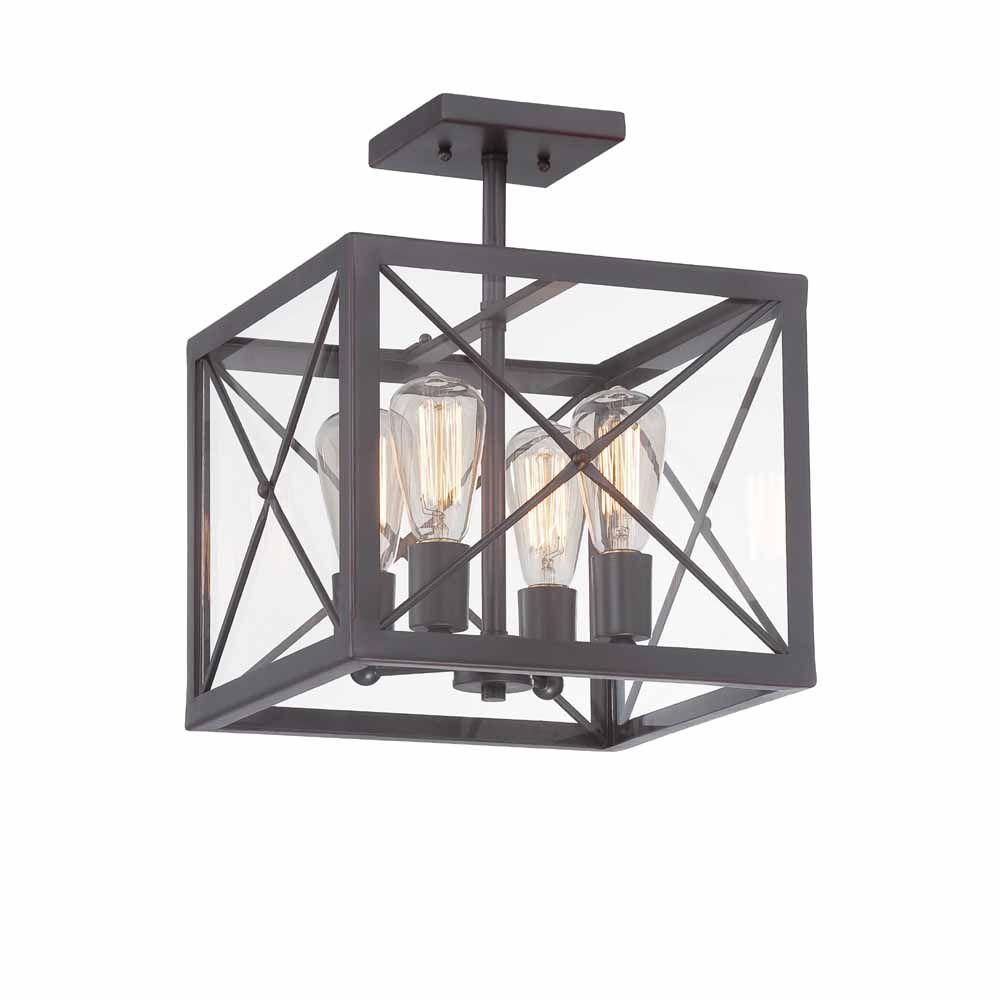 Designers Fountain Incandescent 4-light Semi-Flush,Satin Bronze Finish, Clear Glass