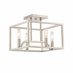 Incandescent 4-light Semi-Flush,Satin Platinum Finish