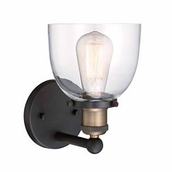 Cordelia Lighting Incandescent 1-light Wall Sconce,Artisan Bronze Finish, Clear Glass