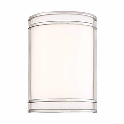 Cordelia Lighting Integrated LED Wall Sconce,Brushed Nickel Finish, White Acrylic, Estimated 889lms, CCT 3000K