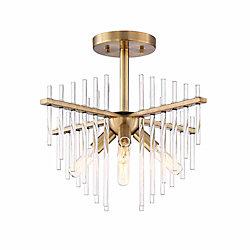 Designers Fountain Semi-plafonnier à 4 ampoules incandescentes, fini laiton antique bruni, tiges en verre clair