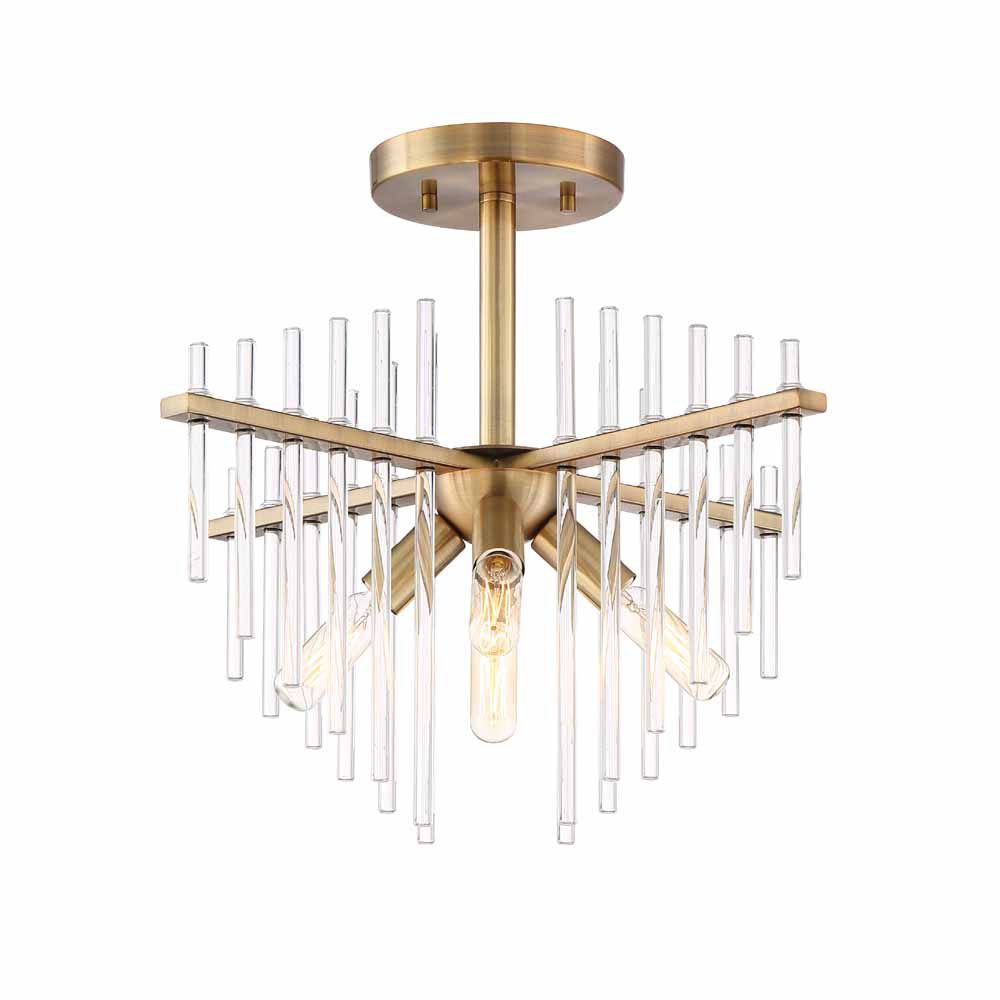 Designers Fountain Incandescent 4-light Semi-Flush,Burnished Antique Brass Finish, Clear Glass Rod,
