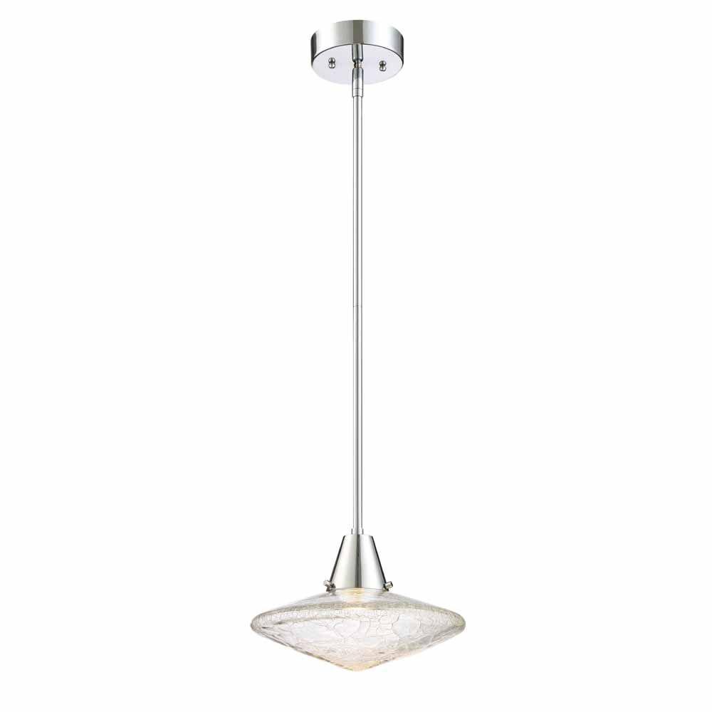 Designers Fountain Integrated LED Mini Pendant,Chrome Finish, Clear Crackle Glass, Estimated 521lms, CCT 2700K