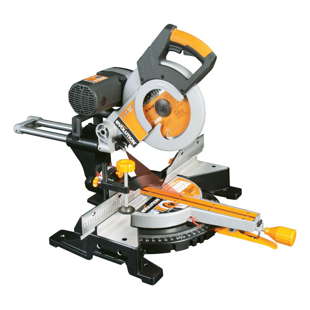 Evolution Power Tools 10-Inch TCT Multi-Material Cutting Double Bevel Compound Sliding Miter Saw