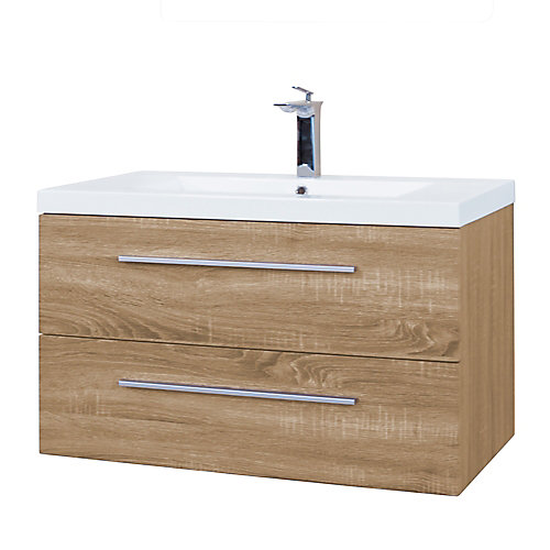 Atom 36 inch Wall Mount Vanity in Mountain Oak