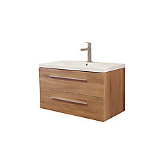 Atom 36 inch Wall Mount Vanity in Desert Oak