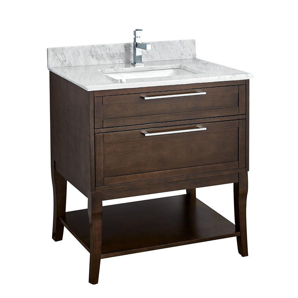 Tidalbath Amira 31 inch Vanity in Antique Coffee w/ Marble Countertop