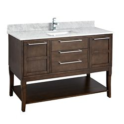 Tidalbath Amira 49 inch Vanity  in Antique Coffee w/ Marble Countertop