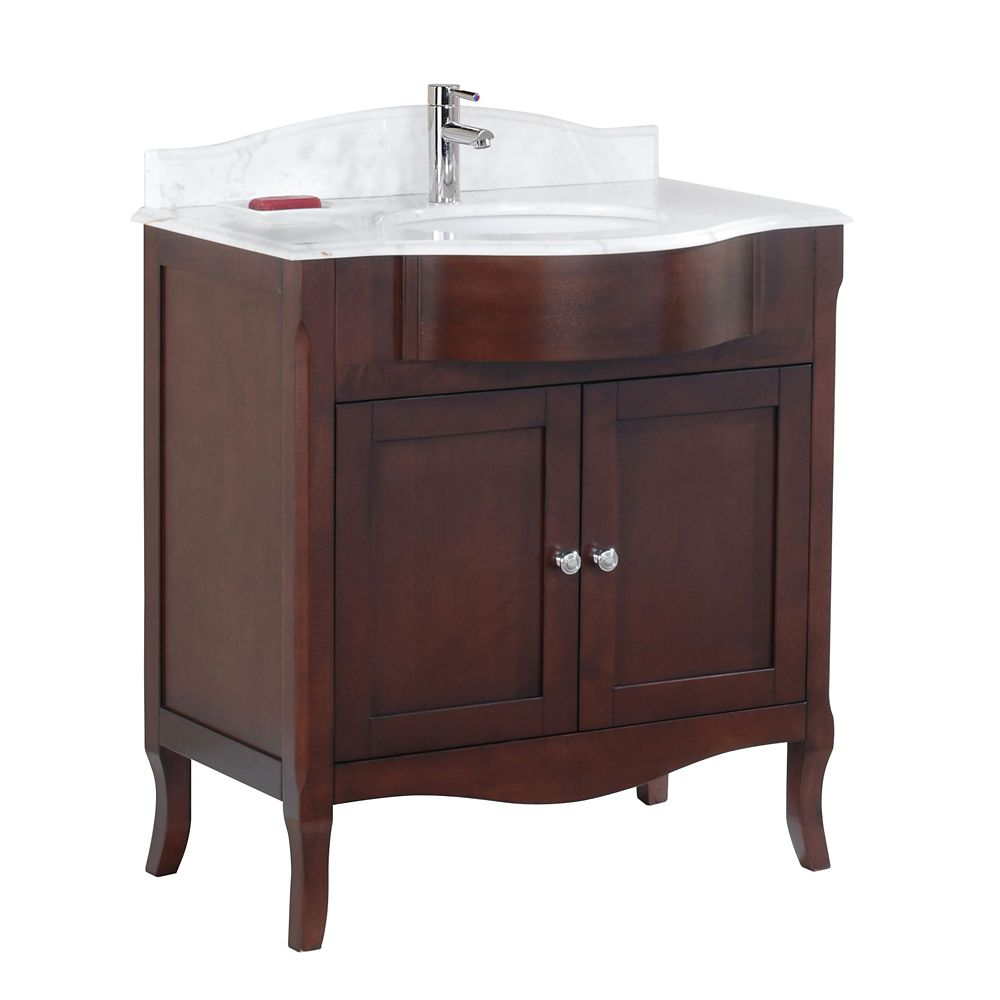 Tidalbath Bella 32 inch Vanity in Walnut w/ Marble Countertop 1-Hole
