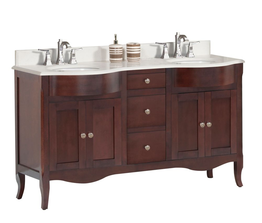 Tidalbath Bella 60 inch Vanity in Walnut w/ Quartz Countertop 3-Hole