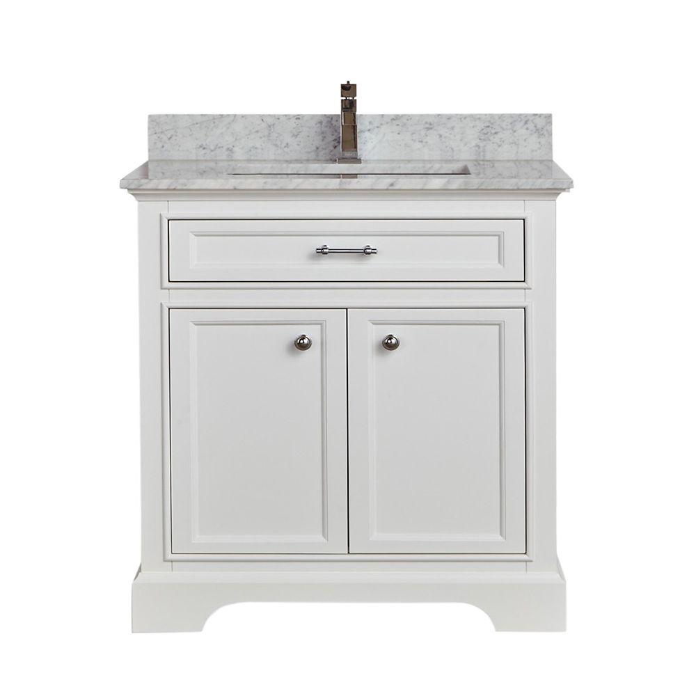 Tidalbath Camden 31 inch Vanity in Dove White w/ Marble Countertop