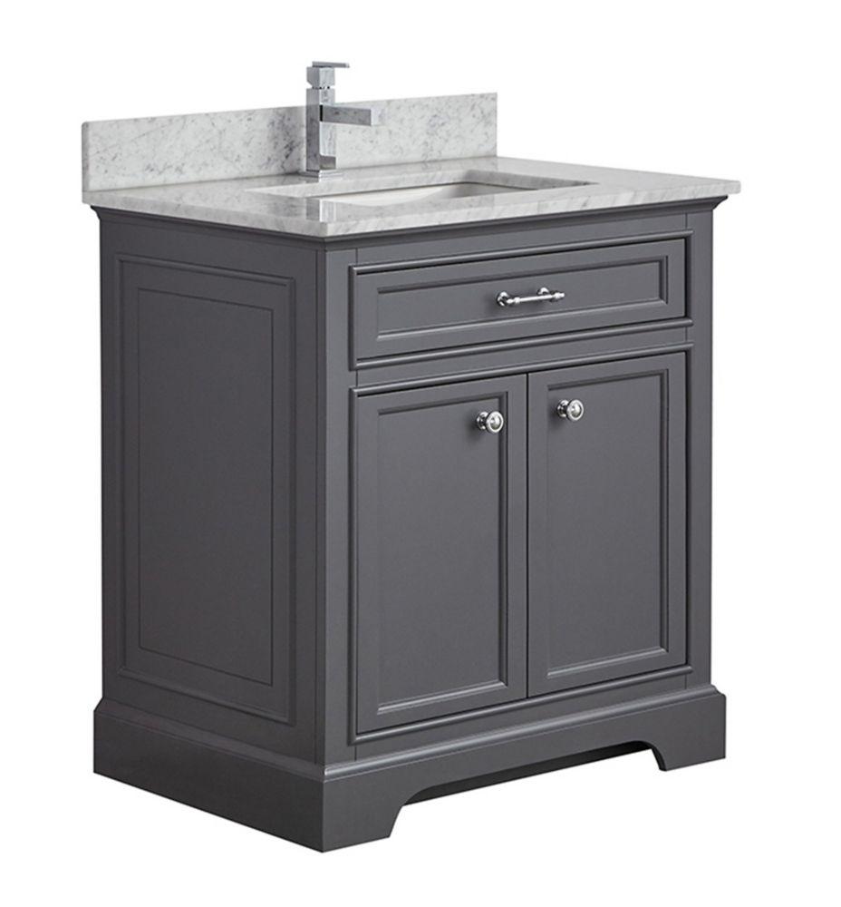 Tidalbath Camden 31 inch Vanity in Empire Grey w/ Marble Countertop