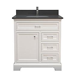 Tidalbath Camden 37 inch Vanity in Dove White w/ Grey Quartz Countertop