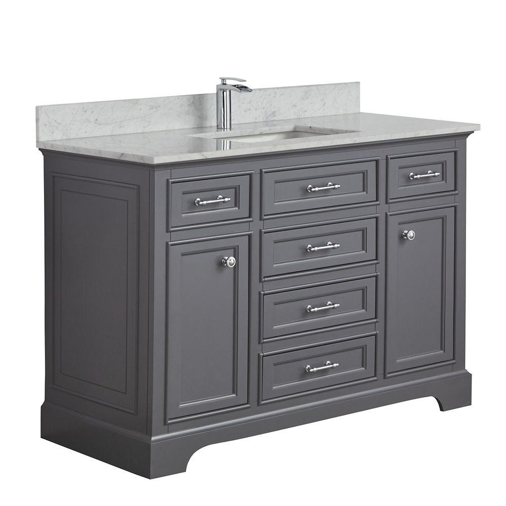 Tidalbath Camden 49 inch Vanity in Empire Grey w/ Marble Countertop