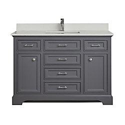 Tidalbath Camden 49 inch Vanity in Empire Grey w/ White Quartz Countertop