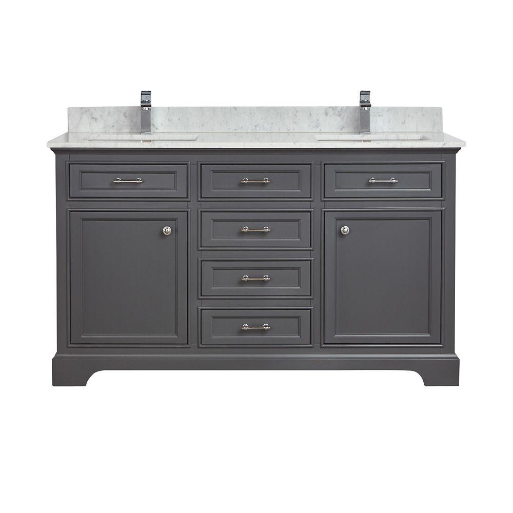 Tidalbath Camden 61 inch Vanity in Empire Grey w/ Marble Countertop