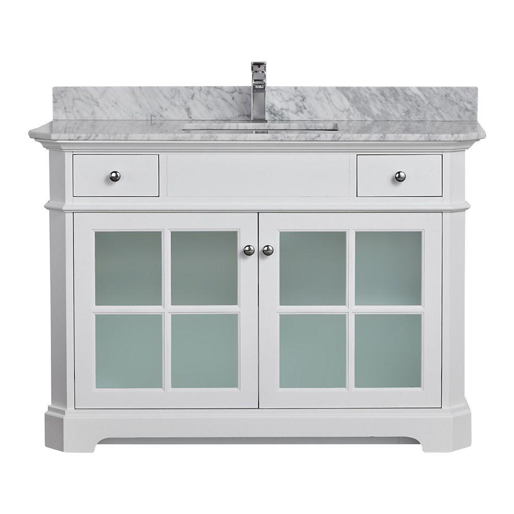 Tidalbath Heritage 48 inch Vanity in Dove White w/ Marble Countertop