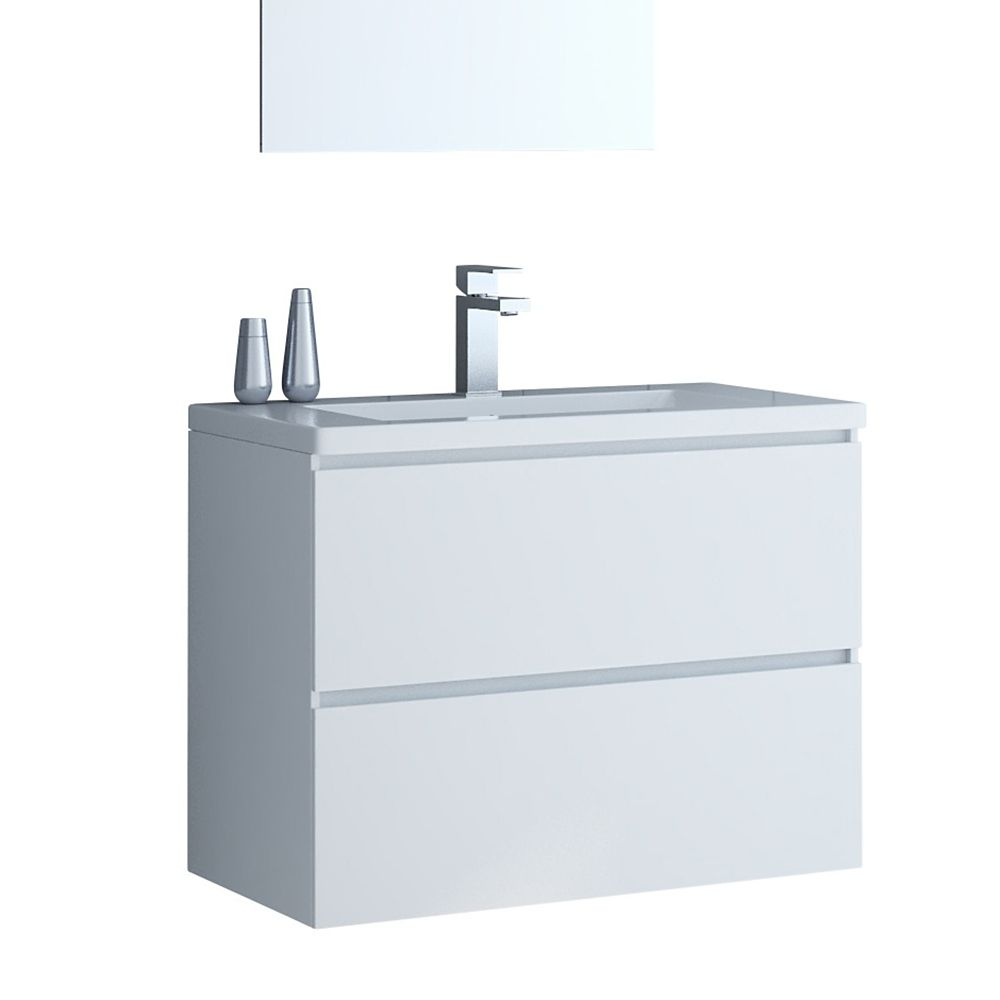 Tidalbath Ion 30 inch Wall Mount Vanity in Gloss White