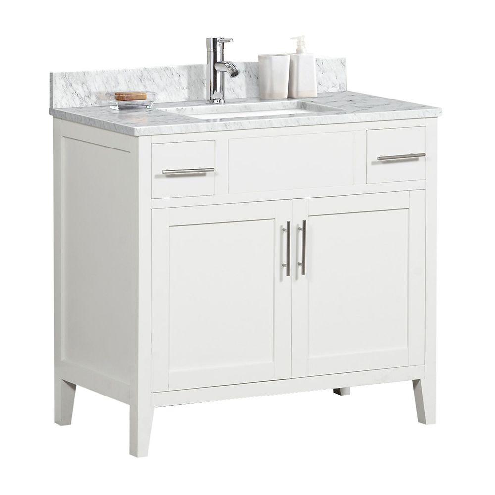 Tidalbath Linden 37 inch Vanity in Dove White w/ Marble Countertop
