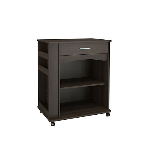 1 Drawer Mobile Microwave Cart, Ebony