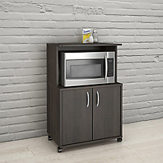 2-Door Mobile Microwave Cart, Ebony