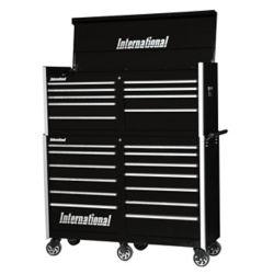 International Coffre et tiroir, de la série profressionnelle de 54 po à 22 tiroirs, noir