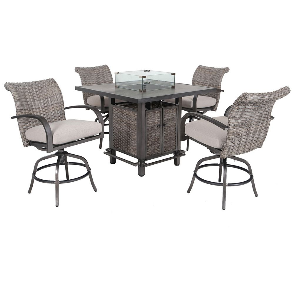 Hampton Bay Cane Estates 5-Piece Aluminum Woven Balcony Height Dining Set with Gas Firepit table