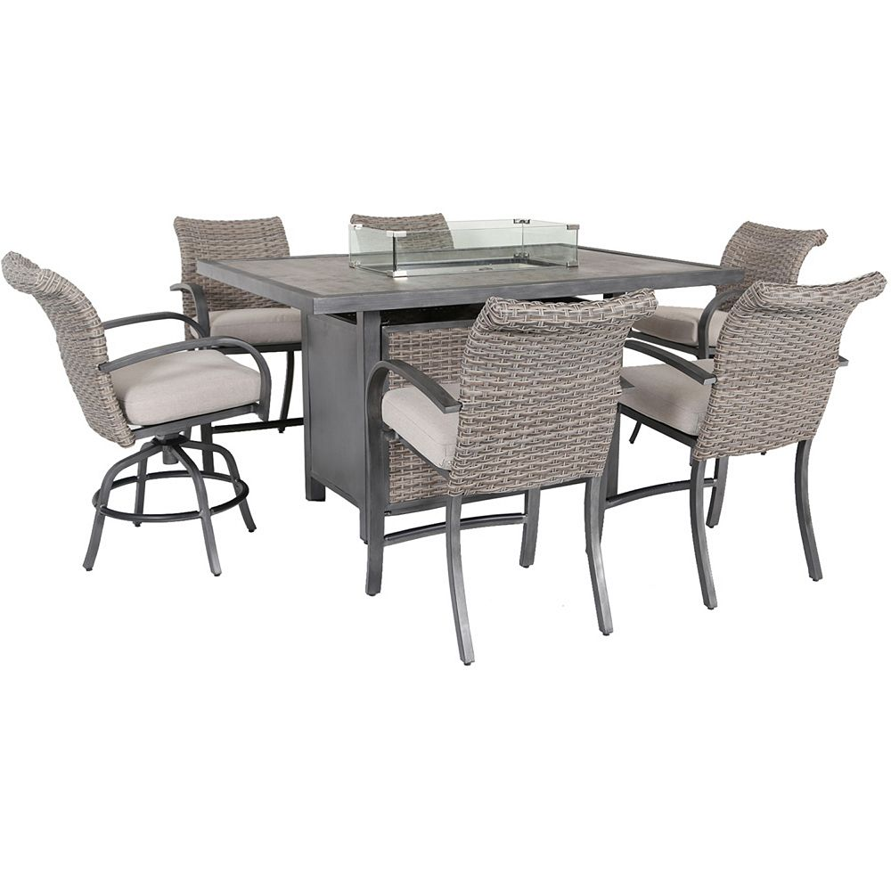 Hampton Bay Cane Estates 7-Piece Woven Aluminum Balcony Height Dining Set with Gas Firepit table top
