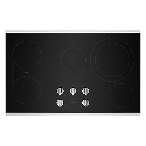 36-inch Electric Cooktop in Stainless Steel with 5 Elements and Reversible Grill and Griddle