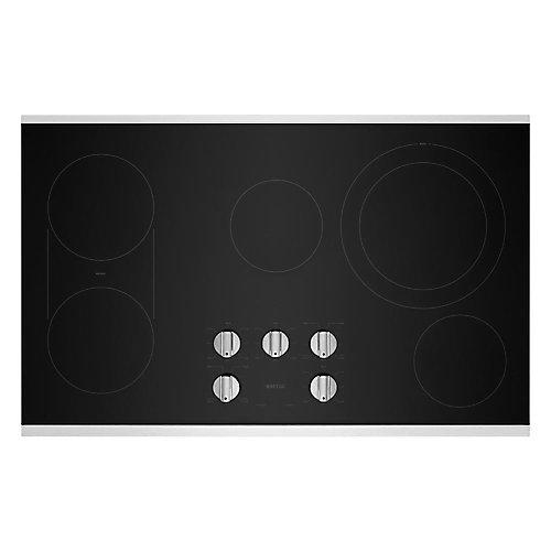 Table de cuisson électrique de 36 po en acier inoxydable à 5 éléments avec grille réversible et grille réversible.