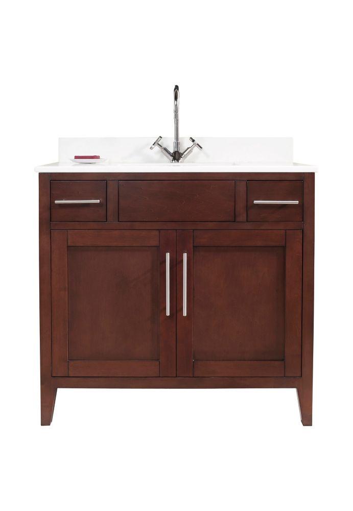 Tidalbath Linden 37 inch Vanity in Walnut w/ White Quartz Countertop