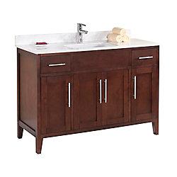 Tidalbath Linden 49 inch Vanity in Walnut w/ Marble Countertop