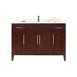 Tidalbath Linden 49 inch Vanity in Walnut w/ White Quartz Countertop