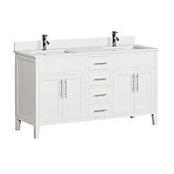 Tidalbath Linden 61 inch Vanity in Dove White w/ White Quartz Countertop