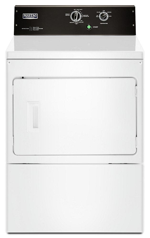 Séchoir électrique commercial à chargement frontal de 7,4 pi3 en blanc