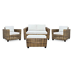 Hampton Bay Stockton Wicker 4-Piece Chat (with Cushioned Coffee Table)