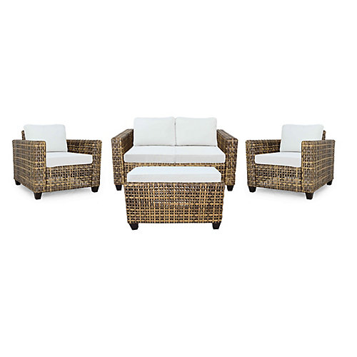 Stockton Wicker 4-Piece Chat (with Cushioned Coffee Table)